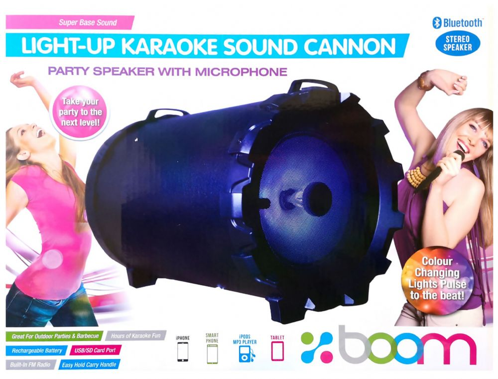 New Boom Portable Karaoke Machine Speaker USB Bluetooth Mic Disco Lights Karaoke
